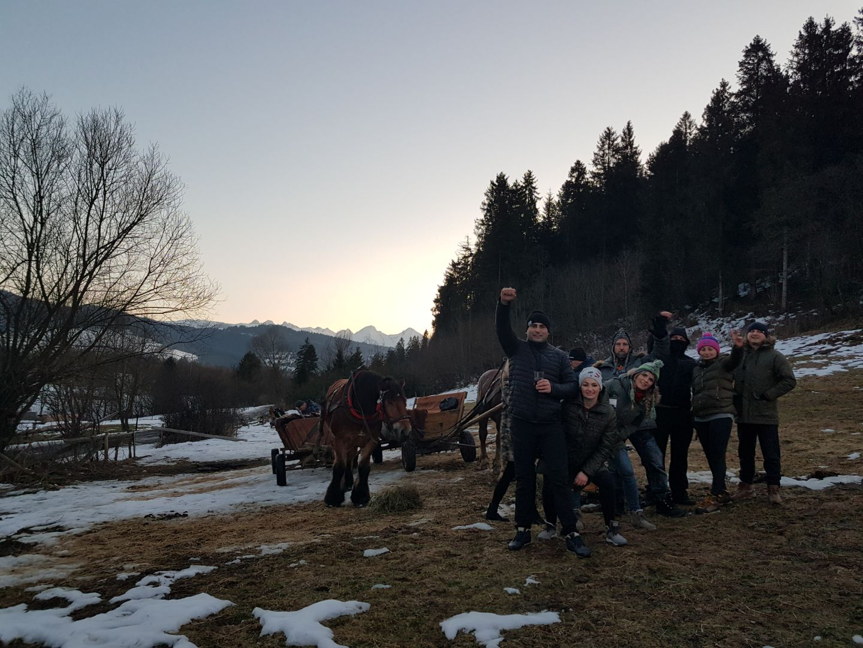 kulig z widokiem na Tatry